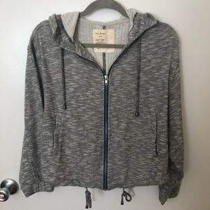 Free People Grey Knit Zip Up Jacket with Hood XS